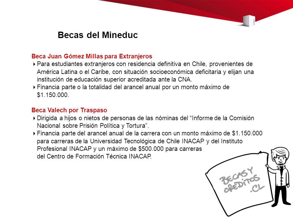 Becas del Mineduc Beca Juan Gómez Millas para Extranjeros Para estudiantes extranjeros con residencia definitiva en Chile, provenientes de América Lat