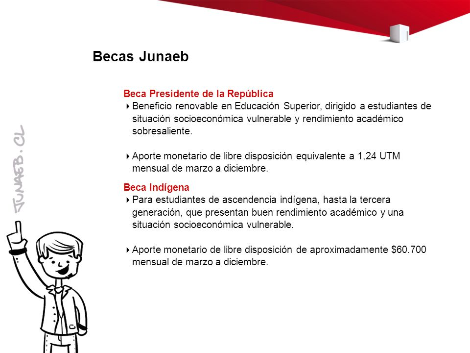 Becas Junaeb Beca Presidente de la República Beneficio renovable en Educación Superior, dirigido a estudiantes de situación socioeconómica vulnerable y rendimiento académico sobresaliente.