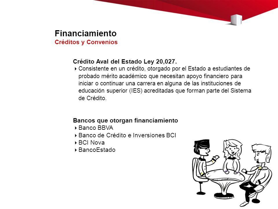 Financiamiento Créditos y Convenios Crédito Aval del Estado Ley 20,027. Consistente en un crédito, otorgado por el Estado a estudiantes de probado mér
