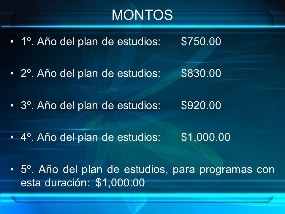 MONTOS 1º.Año del plan de estudios: $750.00 2º. Año del plan de estudios: $830.00 3º.