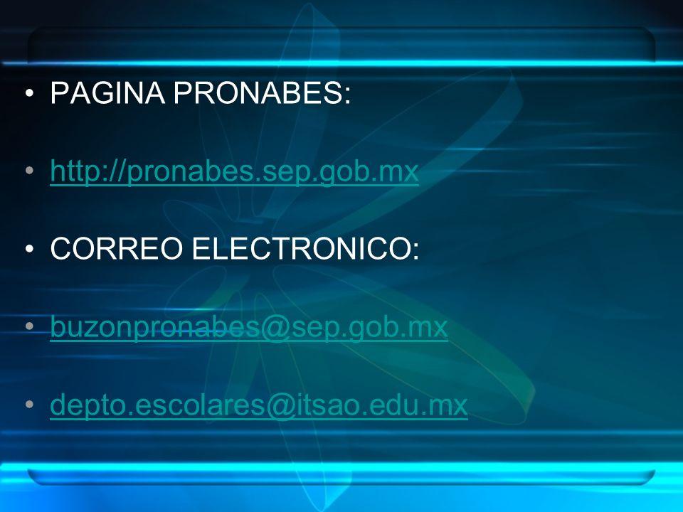PAGINA PRONABES: http://pronabes.sep.gob.mx CORREO ELECTRONICO: buzonpronabes@sep.gob.mx depto.escolares@itsao.edu.mx