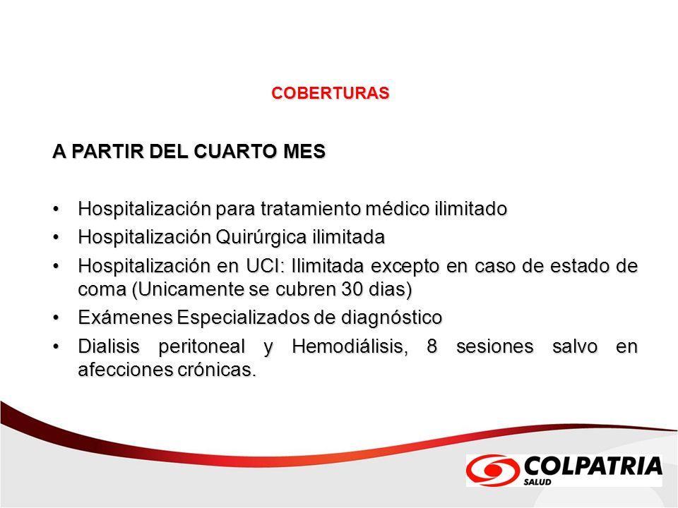 A PARTIR DEL CUARTO MES Hospitalización para tratamiento médico ilimitadoHospitalización para tratamiento médico ilimitado Hospitalización Quirúrgica