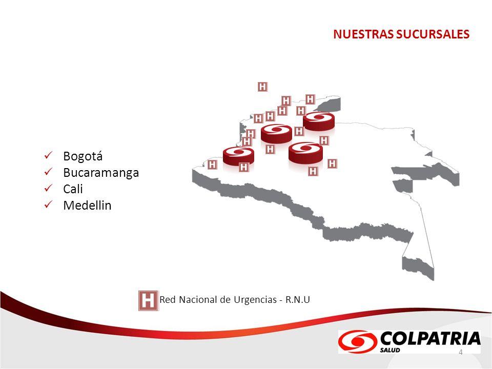 NUESTRAS SUCURSALES Bogotá Bucaramanga Cali Medellin Red Nacional de Urgencias - R.N.U 4