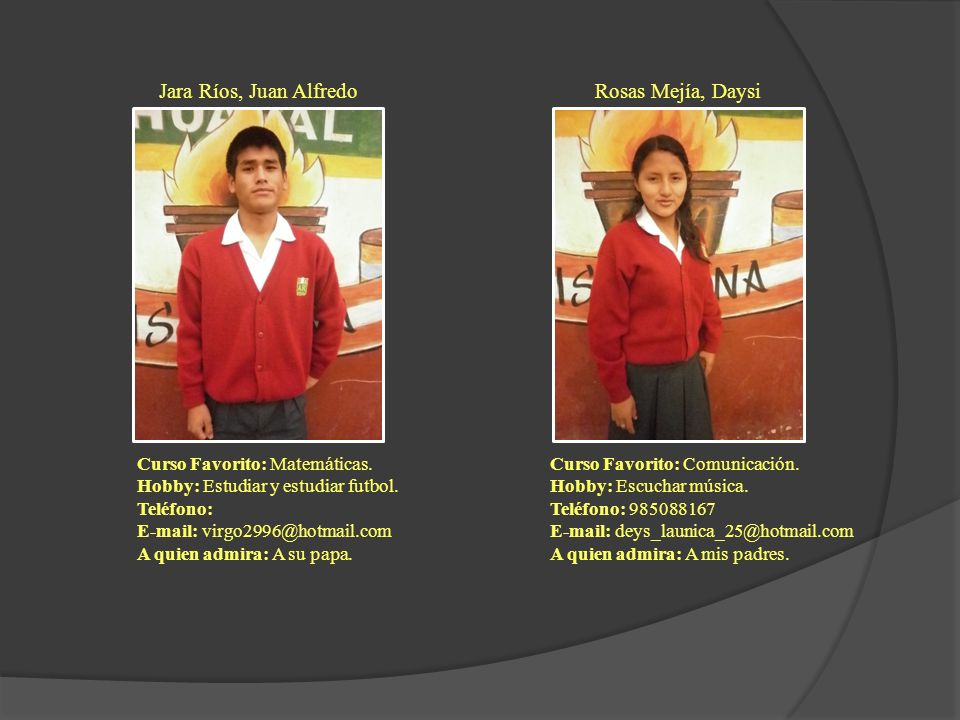 Jara Ríos, Juan Alfredo Curso Favorito: Matemáticas. Hobby: Estudiar y estudiar futbol. Teléfono: E-mail: virgo2996@hotmail.com A quien admira: A su p