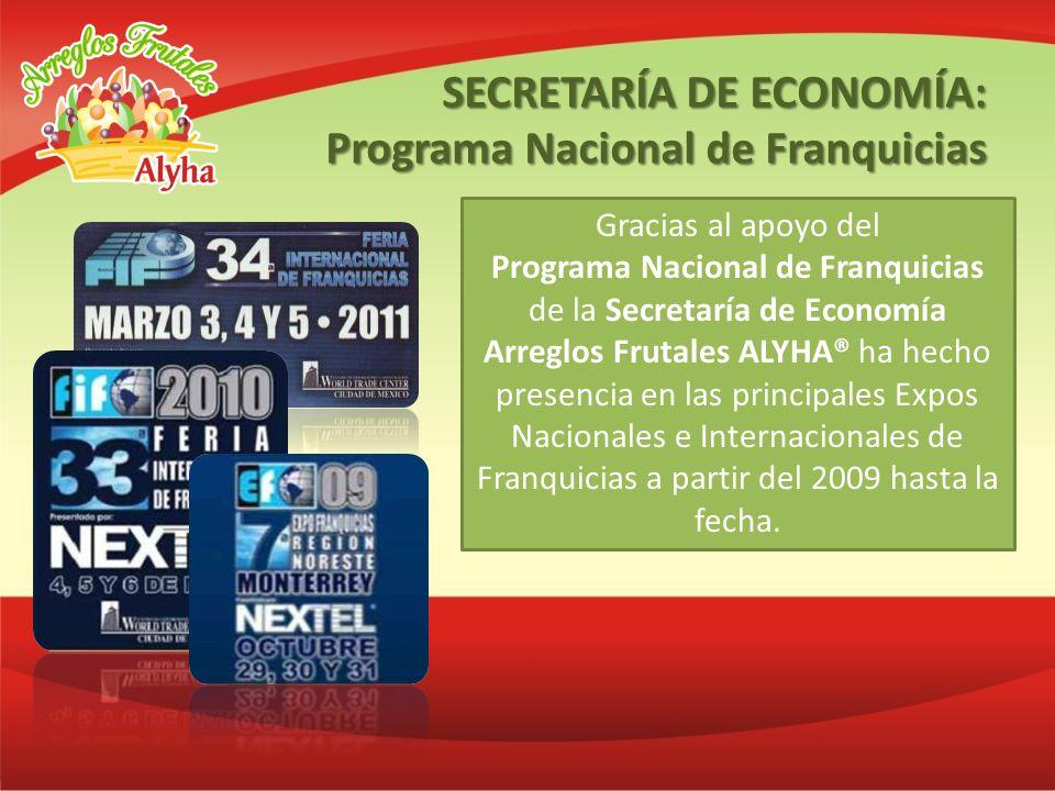 Gracias al apoyo del Programa Nacional de Franquicias de la Secretaría de Economía Arreglos Frutales ALYHA® ha hecho presencia en las principales Expo