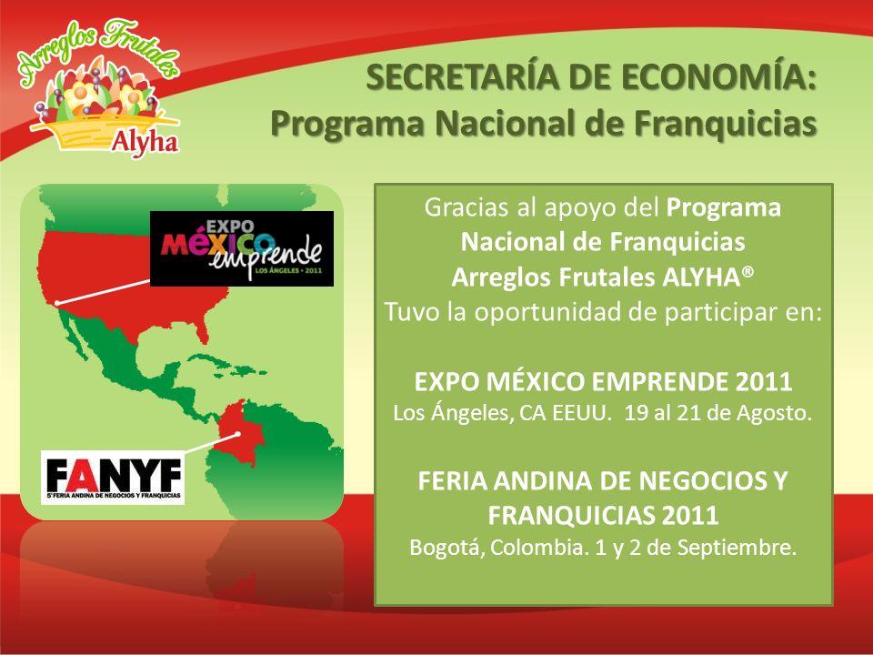 Gracias al apoyo del Programa Nacional de Franquicias Arreglos Frutales ALYHA® Tuvo la oportunidad de participar en: EXPO MÉXICO EMPRENDE 2011 Los Áng