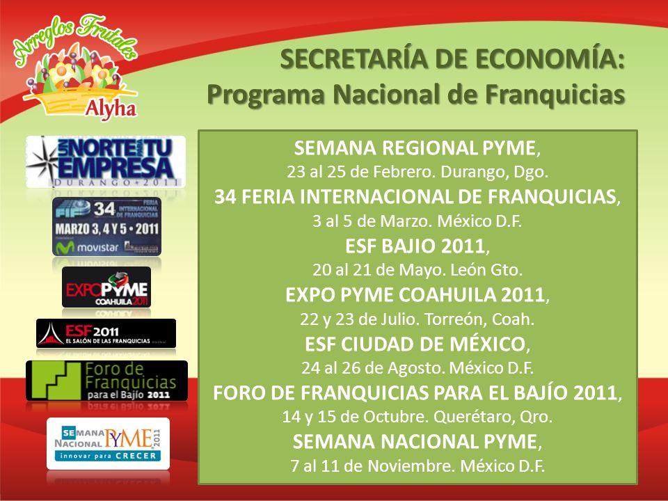 SEMANA REGIONAL PYME, 23 al 25 de Febrero. Durango, Dgo. 34 FERIA INTERNACIONAL DE FRANQUICIAS, 3 al 5 de Marzo. México D.F. ESF BAJIO 2011, 20 al 21