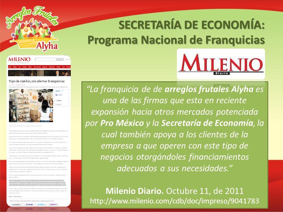 La franquicia de de arreglos frutales Alyha es una de las firmas que esta en reciente expansión hacia otros mercados potenciada por Pro México y la Se