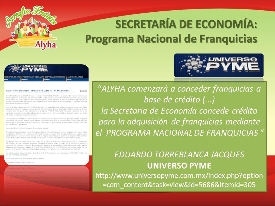 ALYHA comenzará a conceder franquicias a base de crédito (...) la Secretaria de Economía concede crédito para la adquisición de franquicias mediante e