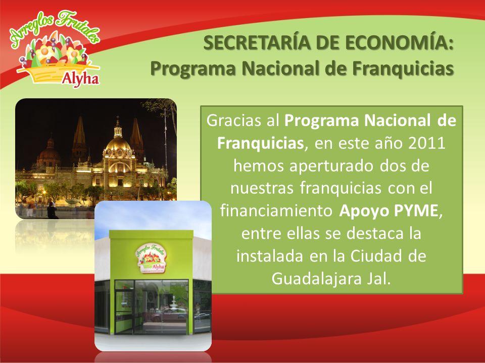 Gracias al Programa Nacional de Franquicias, en este año 2011 hemos aperturado dos de nuestras franquicias con el financiamiento Apoyo PYME, entre ell