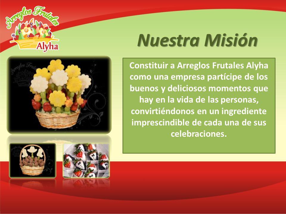 Nuestra Misión Constituir a Arreglos Frutales Alyha como una empresa partícipe de los buenos y deliciosos momentos que hay en la vida de las personas,