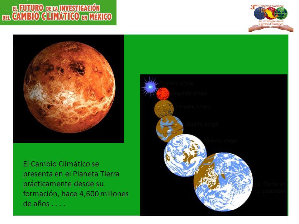 El Cambio Climático se presenta en el Planeta Tierra prácticamente desde su formación, hace 4,600 millones de años....