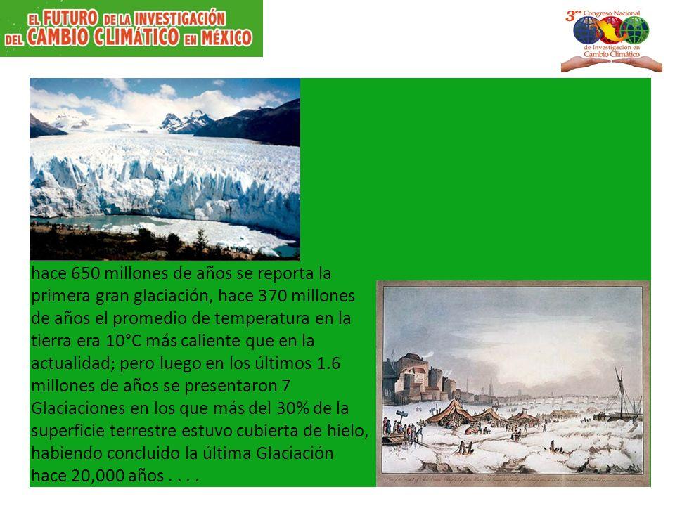 hace 650 millones de años se reporta la primera gran glaciación, hace 370 millones de años el promedio de temperatura en la tierra era 10°C más caliente que en la actualidad; pero luego en los últimos 1.6 millones de años se presentaron 7 Glaciaciones en los que más del 30% de la superficie terrestre estuvo cubierta de hielo, habiendo concluido la última Glaciación hace 20,000 años....
