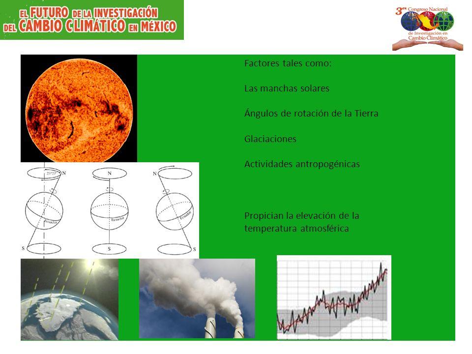 Factores tales como: Las manchas solares Ángulos de rotación de la Tierra Glaciaciones Actividades antropogénicas Propician la elevación de la temperatura atmosférica