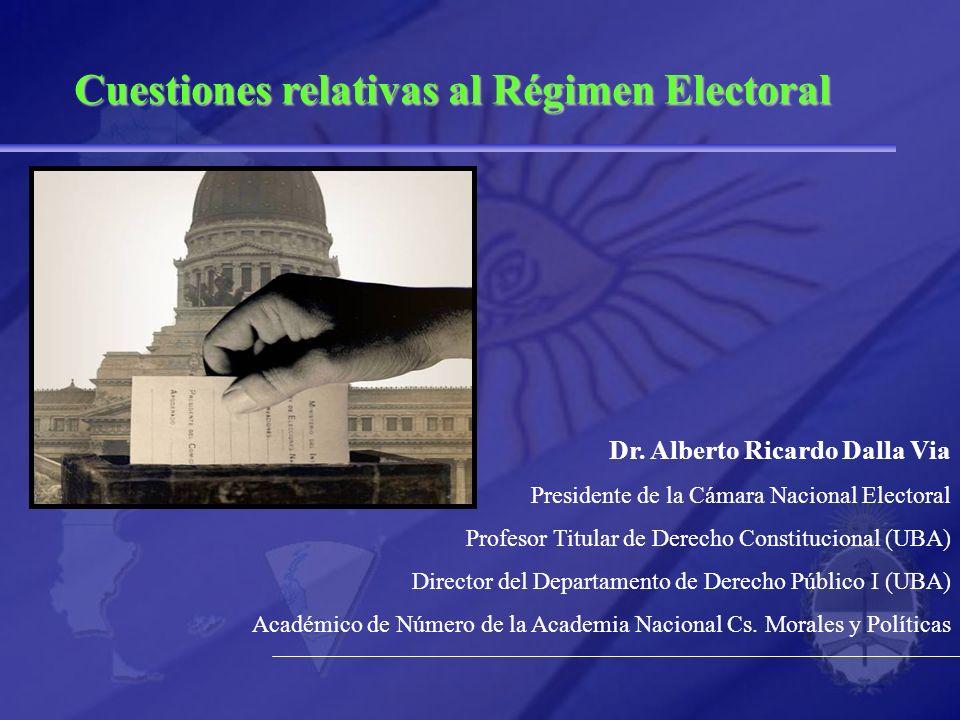 Cuestiones relativas al Régimen Electoral Dr. Alberto Ricardo Dalla Via Presidente de la Cámara Nacional Electoral Profesor Titular de Derecho Constit