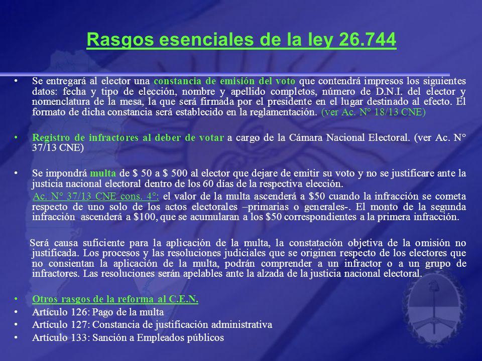 Rasgos esenciales de la ley 26.744 Se entregará al elector una constancia de emisión del voto que contendrá impresos los siguientes datos: fecha y tipo de elección, nombre y apellido completos, número de D.N.I.