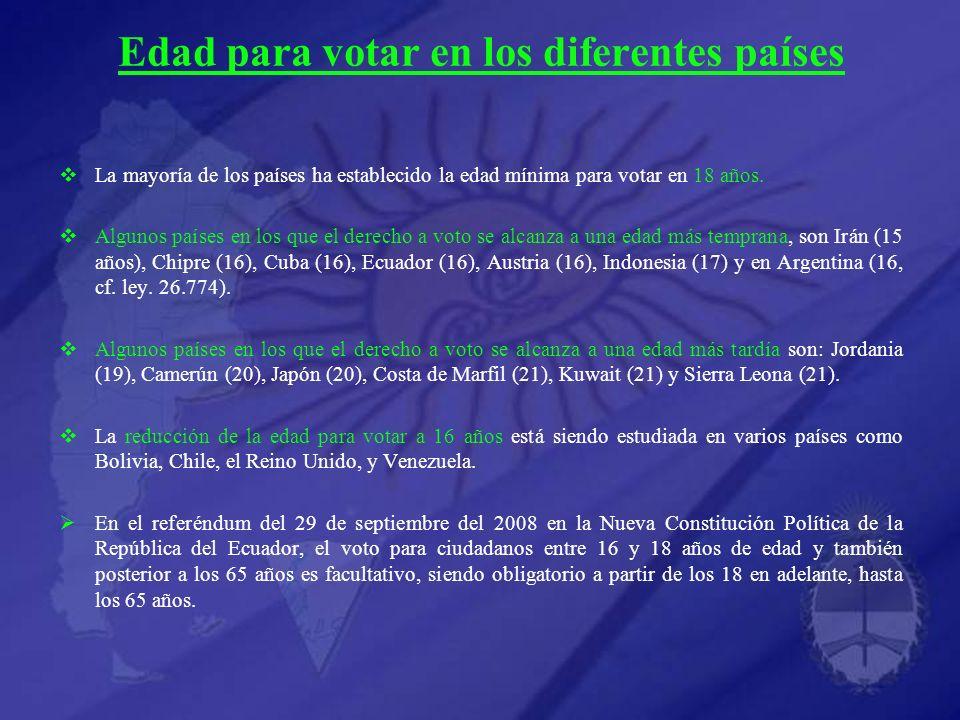 Edad para votar en los diferentes países La mayoría de los países ha establecido la edad mínima para votar en 18 años.