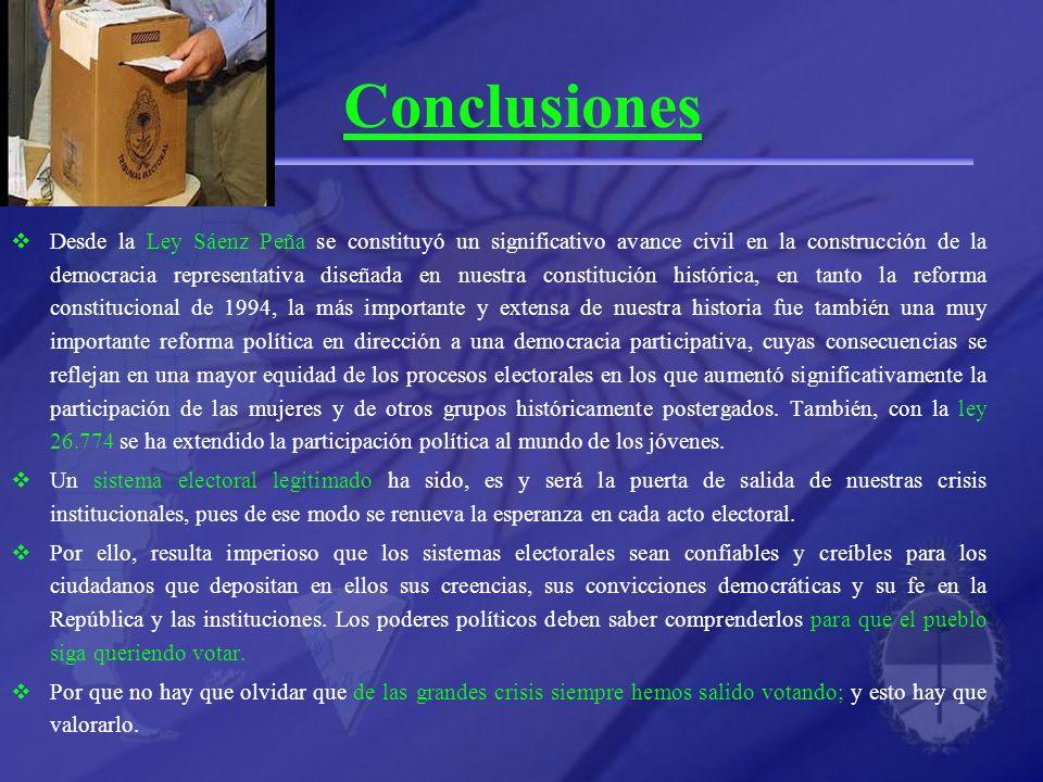 Conclusiones Desde la Ley Sáenz Peña se constituyó un significativo avance civil en la construcción de la democracia representativa diseñada en nuestr