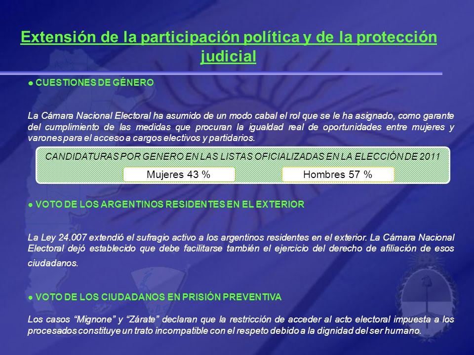 CUESTIONES DE GÉNERO La Cámara Nacional Electoral ha asumido de un modo cabal el rol que se le ha asignado, como garante del cumplimiento de las medid
