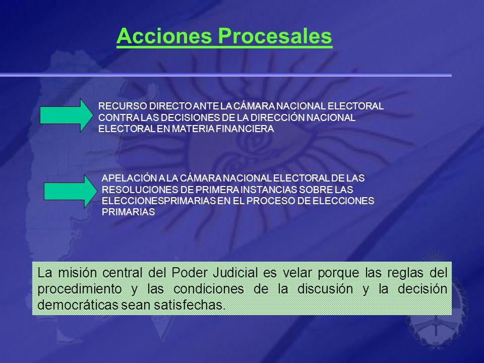 Acciones Procesales RECURSO DIRECTO ANTE LA CÁMARA NACIONAL ELECTORAL CONTRA LAS DECISIONES DE LA DIRECCIÓN NACIONAL ELECTORAL EN MATERIA FINANCIERA A