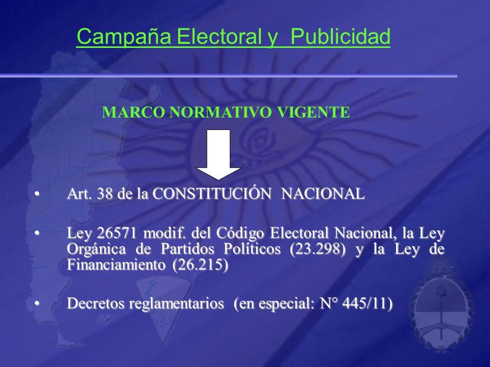 MARCO NORMATIVO VIGENTE Art. 38 de la CONSTITUCIÓN NACIONALArt. 38 de la CONSTITUCIÓN NACIONAL Ley 26571 modif. del Código Electoral Nacional, la Ley