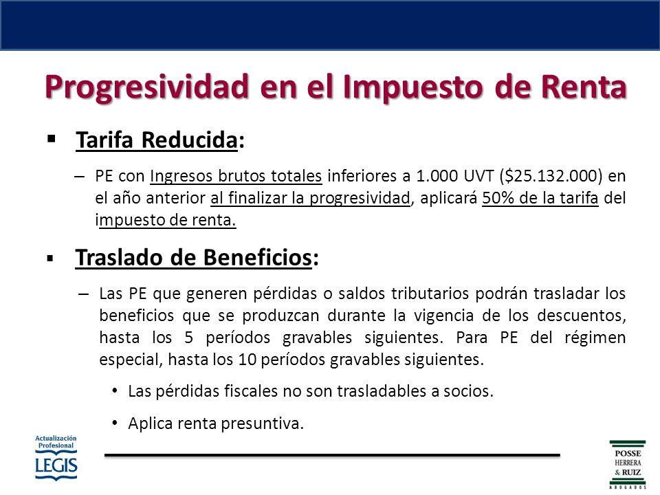 Tarifa Reducida: – PE con Ingresos brutos totales inferiores a 1.000 UVT ($25.132.000) en el año anterior al finalizar la progresividad, aplicará 50% de la tarifa del impuesto de renta.