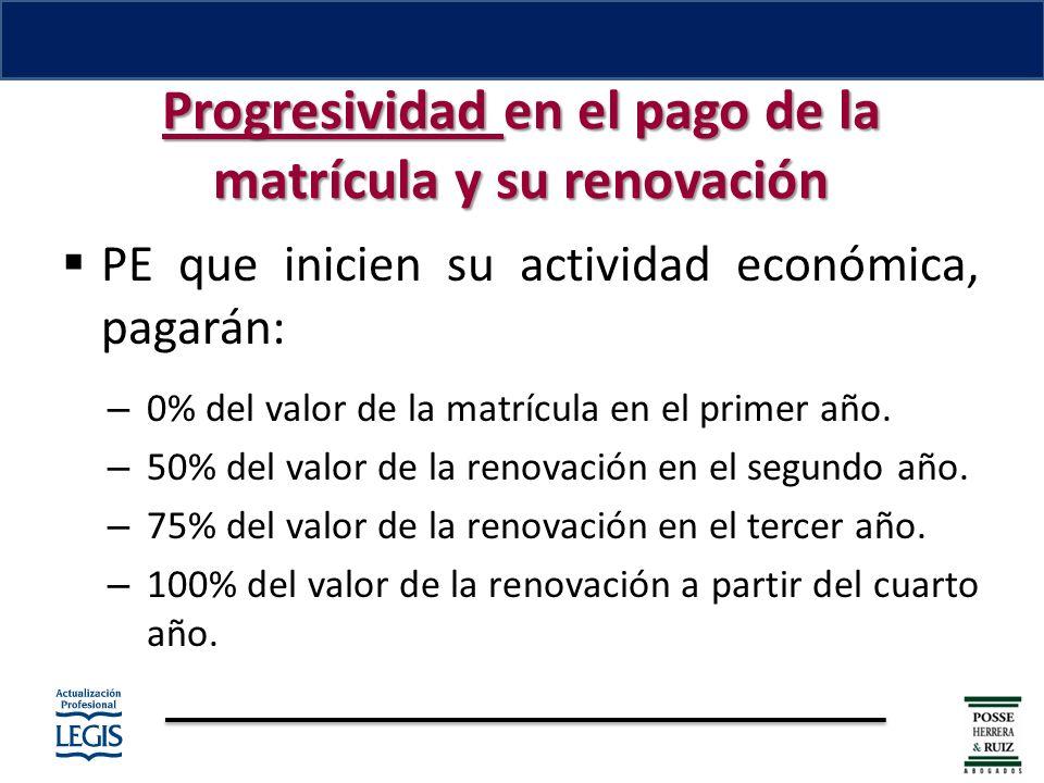 Progresividad en el pago de la matrícula y su renovación PE que inicien su actividad económica, pagarán: – 0% del valor de la matrícula en el primer año.
