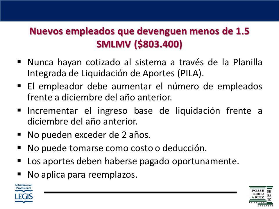 Nuevos empleados que devenguen menos de 1.5 SMLMV ($803.400) Nunca hayan cotizado al sistema a través de la Planilla Integrada de Liquidación de Aportes (PILA).
