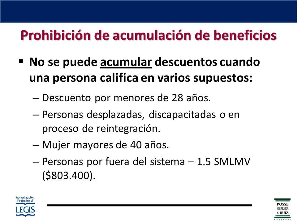 Prohibición de acumulación de beneficios No se puede acumular descuentos cuando una persona califica en varios supuestos: – Descuento por menores de 28 años.