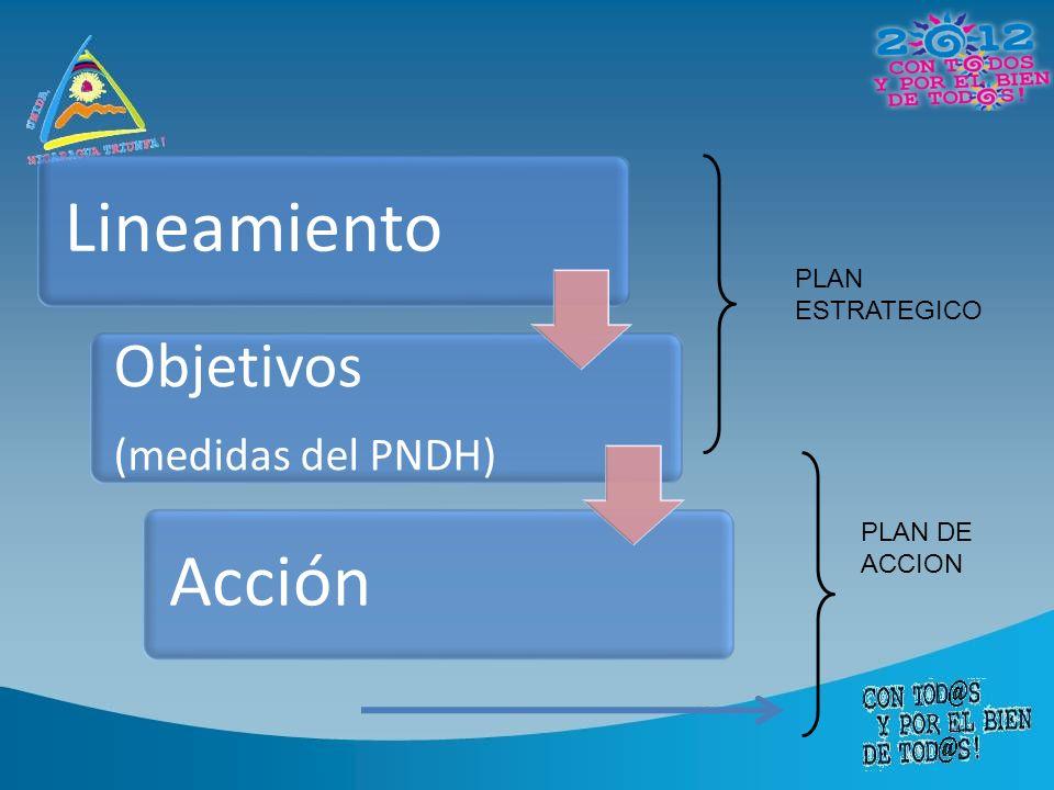 Lineamiento Objetivos (medidas del PNDH) Acción PLAN ESTRATEGICO PLAN DE ACCION