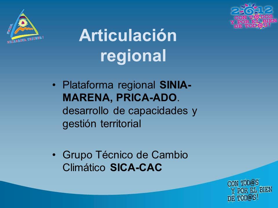 Articulación regional Plataforma regional SINIA- MARENA, PRICA-ADO.