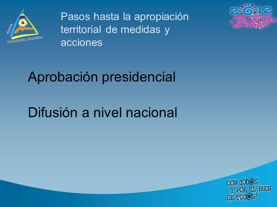 Pasos hasta la apropiación territorial de medidas y acciones Aprobación presidencial Difusión a nivel nacional