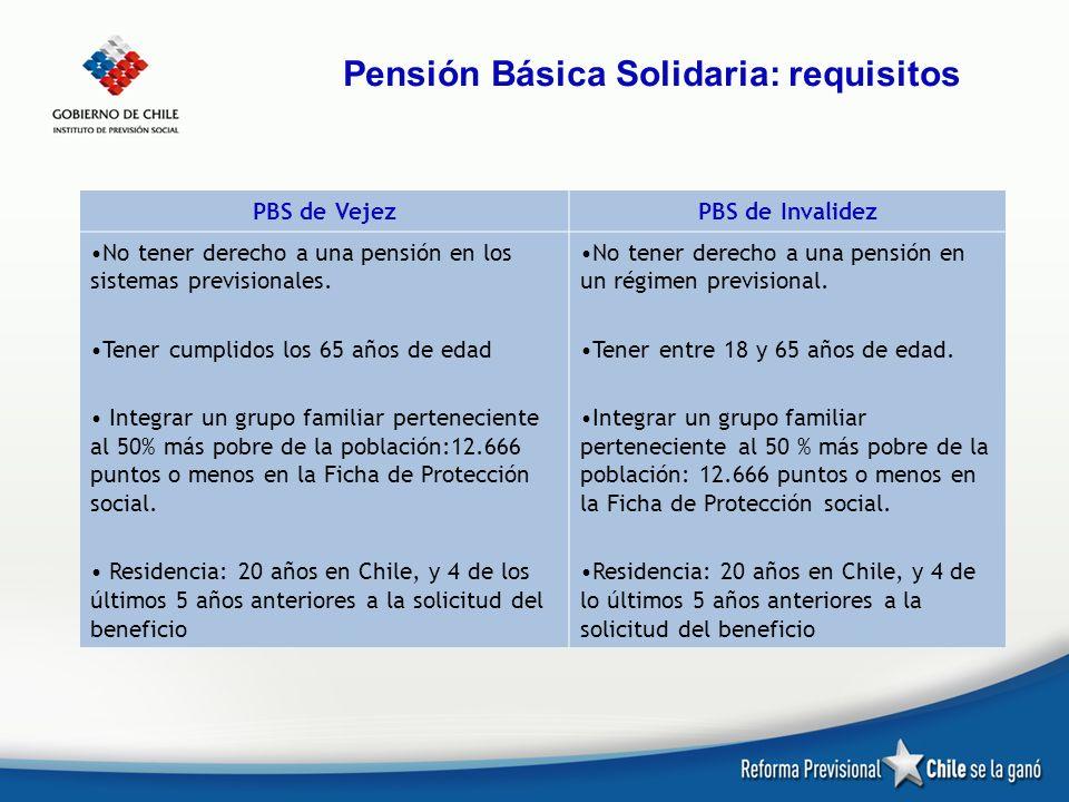 Pensión Básica Solidaria: requisitos PBS de VejezPBS de Invalidez No tener derecho a una pensión en los sistemas previsionales. Tener cumplidos los 65