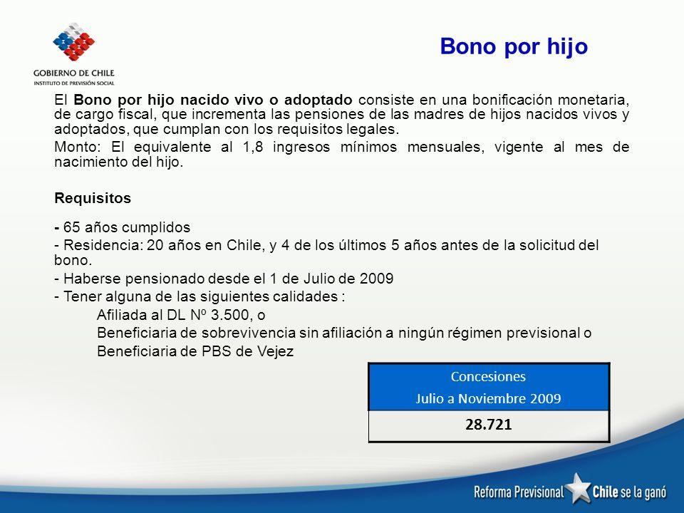 Bono por hijo El Bono por hijo nacido vivo o adoptado consiste en una bonificación monetaria, de cargo fiscal, que incrementa las pensiones de las mad
