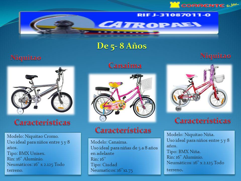 Modelo: Canaima Uso ideal para niñas de 8 años en adelante Rin: 20 Tipo: Ciudad Neumáticos: 20 x1.75 Modelo: Yuma.