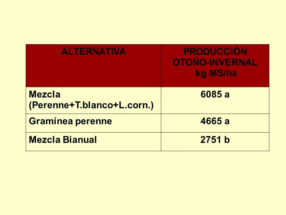 ALTERNATIVAPRODUCCIÓN OTOÑO-INVERNAL kg MS/ha Mezcla (Perenne+T.blanco+L.corn.) 6085 a Gramínea perenne4665 a Mezcla Bianual2751 b