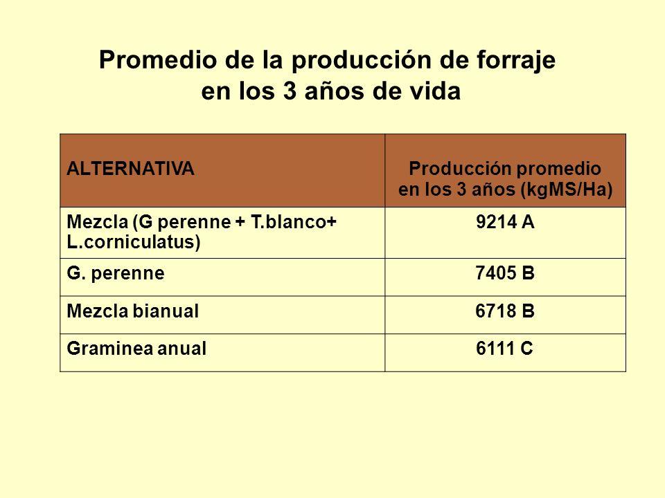 ALTERNATIVAProducción promedio en los 3 años (kgMS/Ha) Mezcla (G perenne + T.blanco+ L.corniculatus) 9214 A G. perenne7405 B Mezcla bianual6718 B Gram