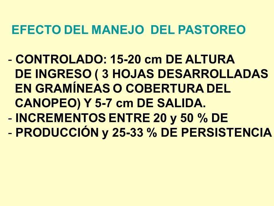 EFECTO DEL MANEJO DEL PASTOREO - CONTROLADO: 15-20 cm DE ALTURA DE INGRESO ( 3 HOJAS DESARROLLADAS EN GRAMÍNEAS O COBERTURA DEL CANOPEO) Y 5-7 cm DE SALIDA.