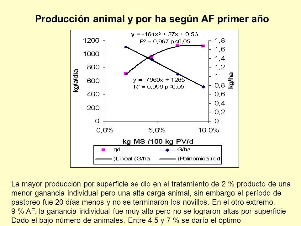 Producción animal y por ha según AF primer año La mayor producción por superficie se dio en el tratamiento de 2 % producto de una menor ganancia individual pero una alta carga animal, sin embargo el período de pastoreo fue 20 días menos y no se terminaron los novillos.