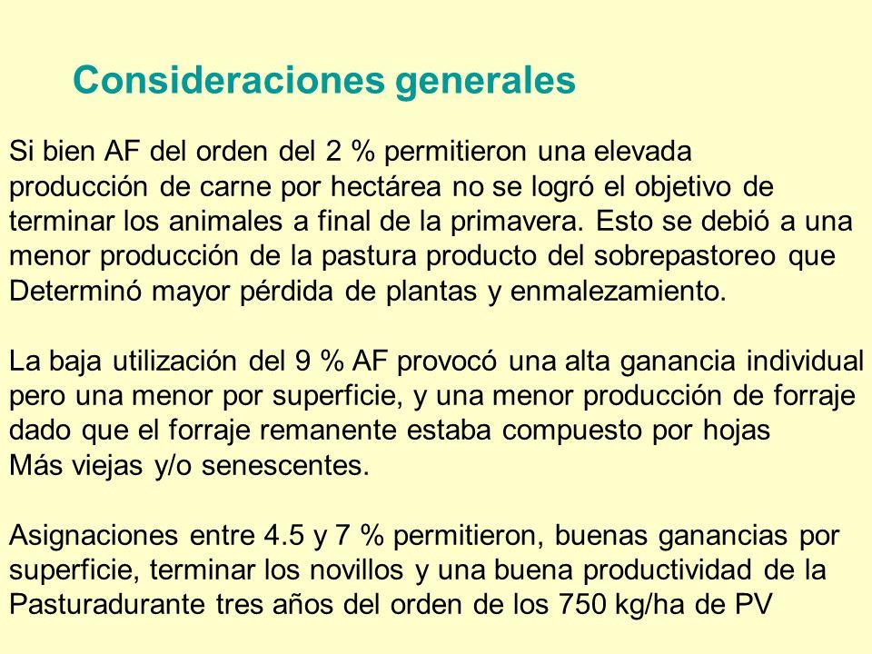 Consideraciones generales Si bien AF del orden del 2 % permitieron una elevada producción de carne por hectárea no se logró el objetivo de terminar los animales a final de la primavera.