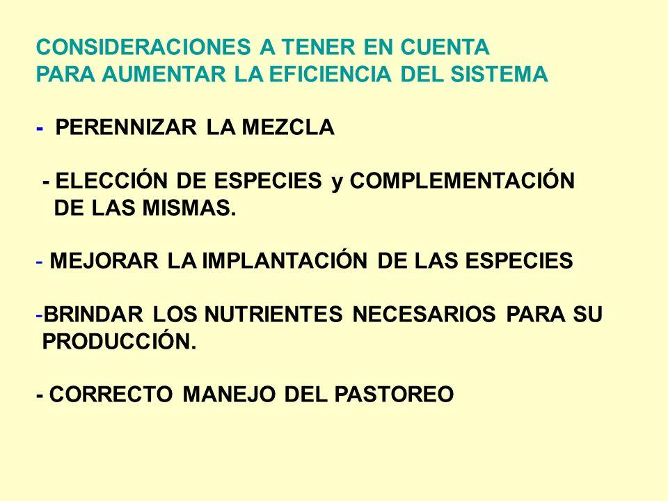 CONSIDERACIONES A TENER EN CUENTA PARA AUMENTAR LA EFICIENCIA DEL SISTEMA - PERENNIZAR LA MEZCLA - ELECCIÓN DE ESPECIES y COMPLEMENTACIÓN DE LAS MISMA