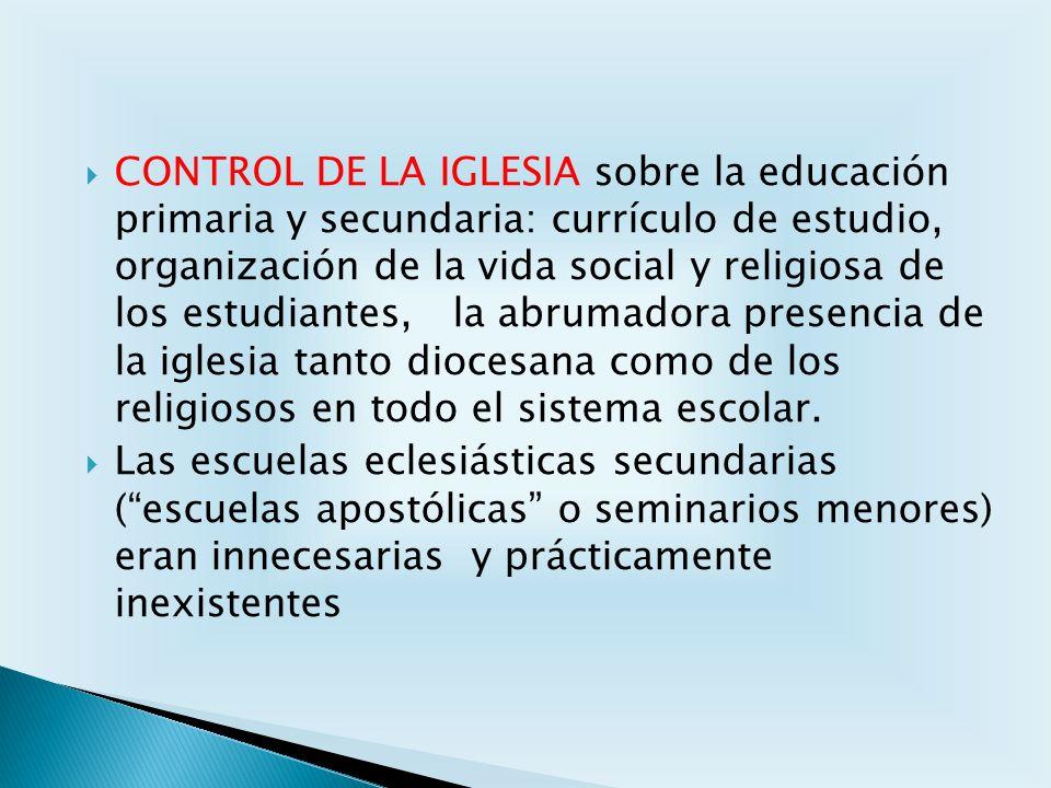 CONTROL DE LA IGLESIA sobre la educación primaria y secundaria: currículo de estudio, organización de la vida social y religiosa de los estudiantes, l