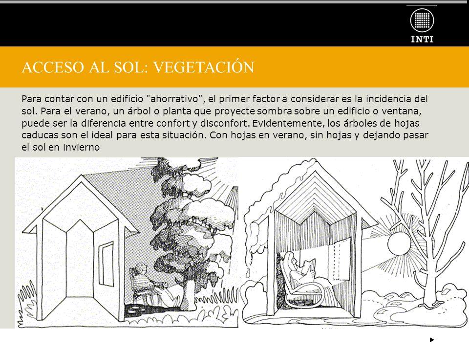 ACCESO AL SOL: VEGETACIÓN Para contar con un edificio