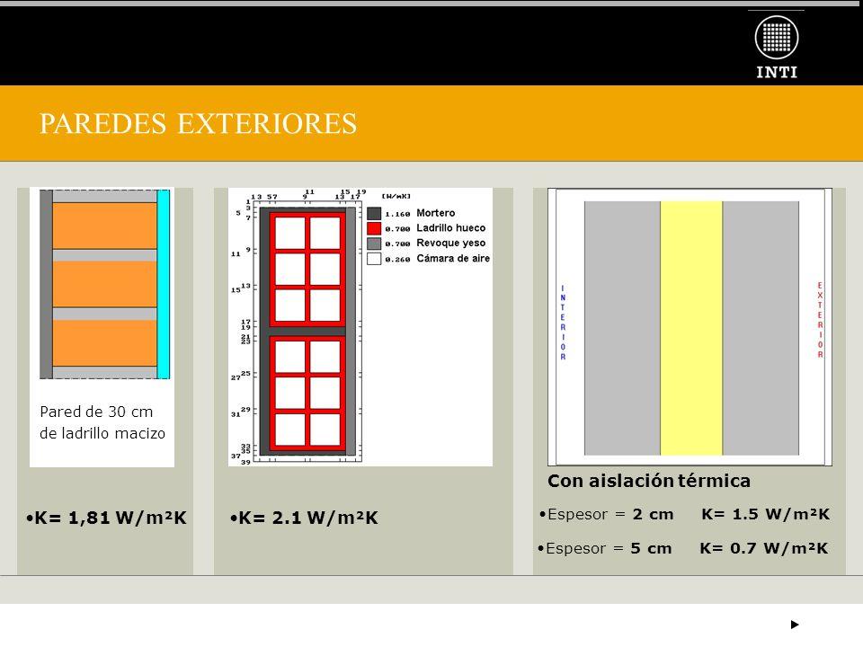 PAREDES EXTERIORES K= 2.1 W/m²KK= 1,81 W/m²K Con aislación térmica Espesor = 2 cm K= 1.5 W/m²K Pared de 30 cm de ladrillo macizo Espesor = 5 cm K= 0.7