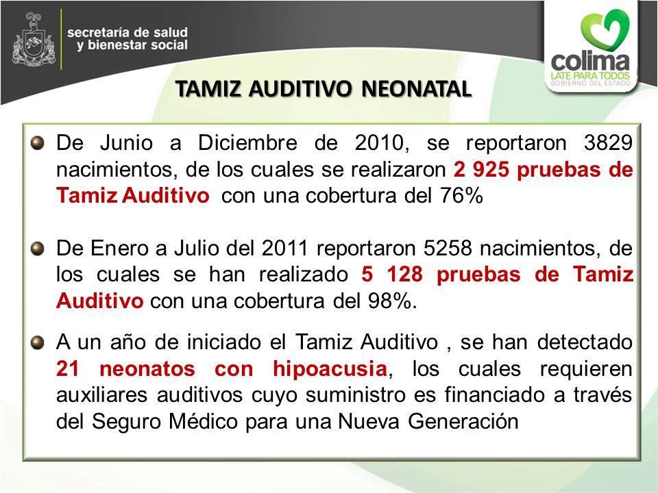 De Junio a Diciembre de 2010, se reportaron 3829 nacimientos, de los cuales se realizaron 2 925 pruebas de Tamiz Auditivo con una cobertura del 76% De