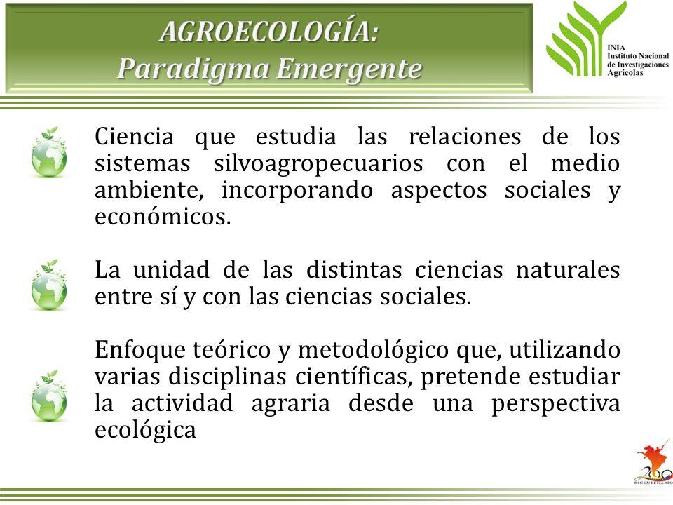 Ciencia que estudia las relaciones de los sistemas silvoagropecuarios con el medio ambiente, incorporando aspectos sociales y económicos. La unidad de