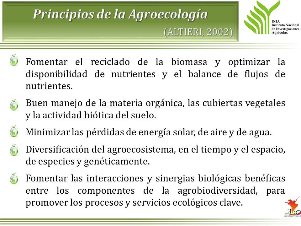 Fomentar el reciclado de la biomasa y optimizar la disponibilidad de nutrientes y el balance de flujos de nutrientes. Buen manejo de la materia orgáni