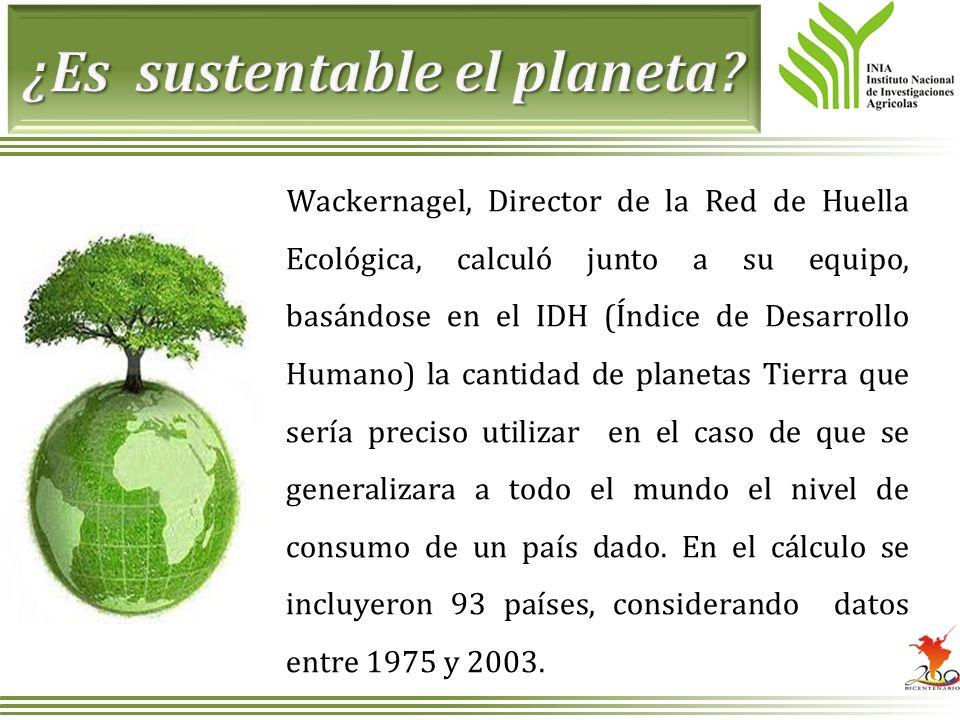 Wackernagel, Director de la Red de Huella Ecológica, calculó junto a su equipo, basándose en el IDH (Índice de Desarrollo Humano) la cantidad de plane