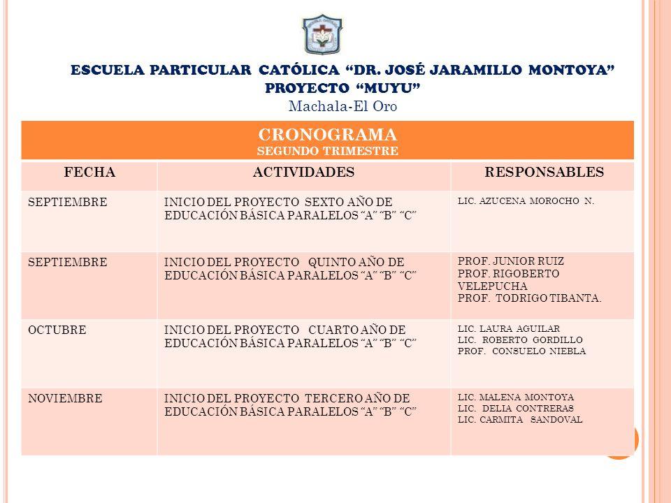 ESCUELA PARTICULAR CATÓLICA DR. JOSÉ JARAMILLO MONTOYA PROYECTO MUYU Machala-El Oro CRONOGRAMA SEGUNDO TRIMESTRE FECHAACTIVIDADES RESPONSABLES SEPTIEM