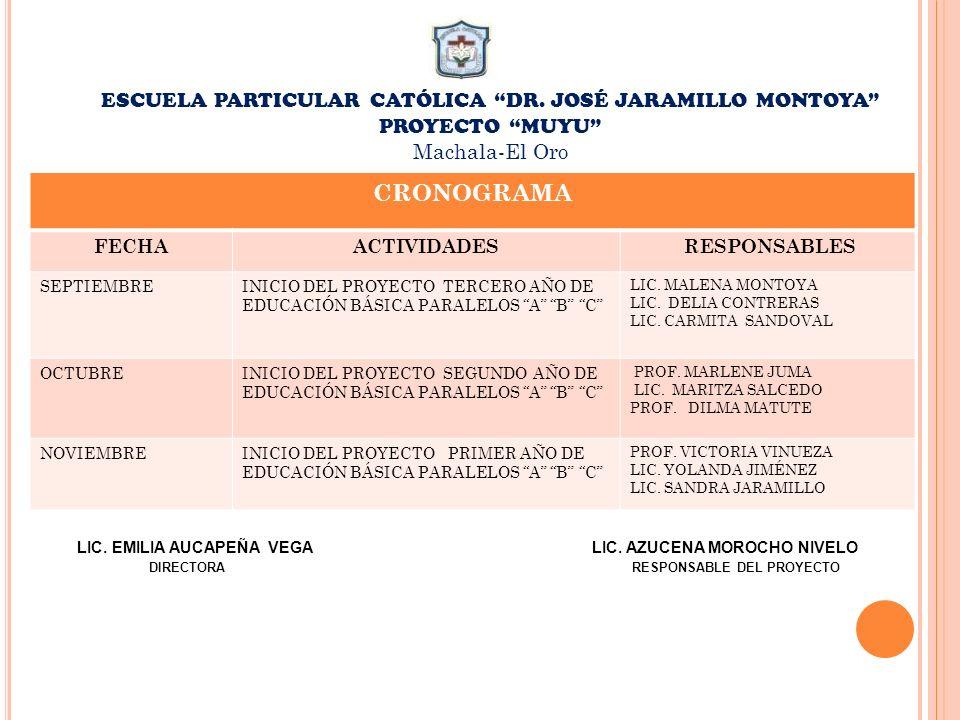 ESCUELA PARTICULAR CATÓLICA DR. JOSÉ JARAMILLO MONTOYA PROYECTO MUYU Machala-El Oro CRONOGRAMA FECHAACTIVIDADES RESPONSABLES SEPTIEMBREINICIO DEL PROY